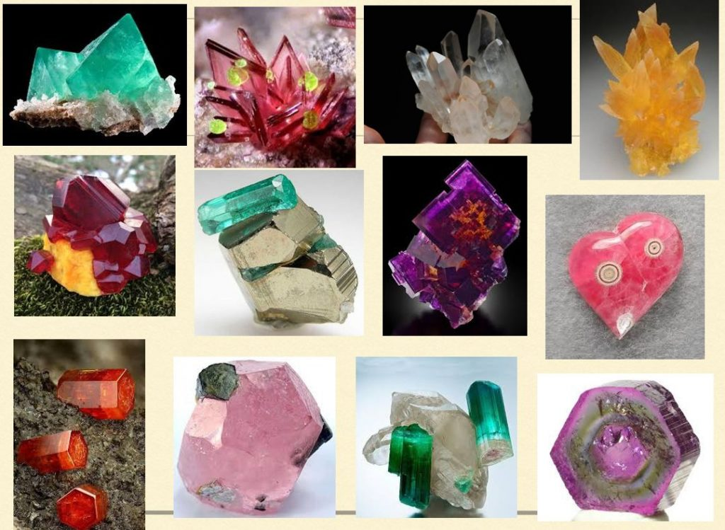 grid of crystal photos